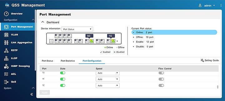 Port Management View port status, port packet statistics, and configure port speeds.